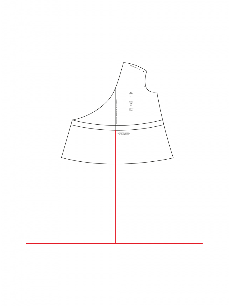 fad08ea8f6d6c Ricopiare su un foglio di carta velina la linea dell orlo originale della  blusa e la linea di dritto filo almeno per 20 25 cm.